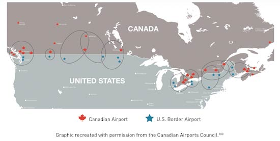 Proximity of Canadian and American airports image