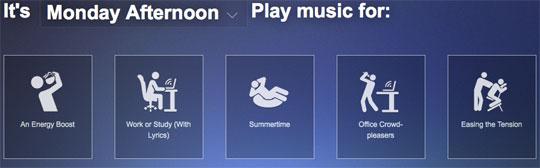 Songza Playlist example